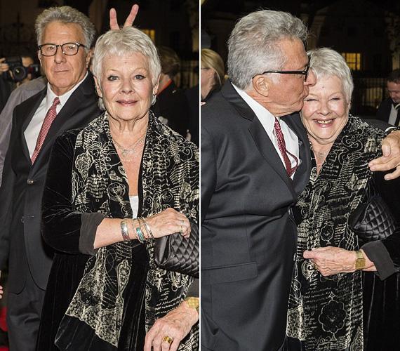 A vörös szőnyeges tréfához senki nem túl öreg. Dustin Hoffman ugyan már 77 éves, de nem bírta kihagyni, hogy szamárfület mutasson 79 éves kolléganőjének, Judi Denchnek. A két sztár szerda este az Esio Trot című BBC-s tévéfilm londoni premierjén jelent meg, a Roald Dahl regénye alapján készült vígjátékban idős szerelmespárt alakítanak.
