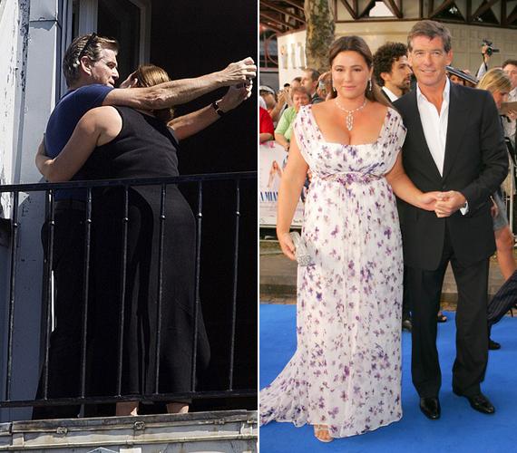 Pierce és Keely június elején Párizsban töltöttek pár napot, a lesifotósok pedig a hotel erkélyén kapták le az ölelkező szerelmespárt. A jobb oldali fotó 2008-ban a Mamma Mia londoni premierjén készült a sztárról és feleségéről.