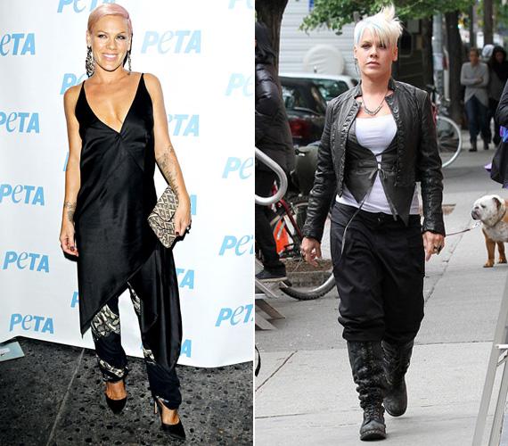 A két felvétel között az énekesnő alakja mellett az öltözködési stílusában is nagy az eltérés. Pinket rég láttuk ilyen elegánsnak.