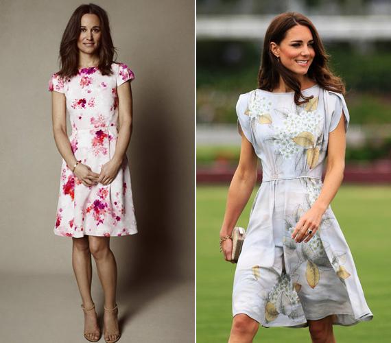 Pippa bal oldalon látható rózsaszín és virágos ruhája átszámolva 126 ezer forintba kerül, de a borsos ár mentségére szóljon, hogy a ruhácska után befolyt teljes összeget egy szívbetegségekkel foglalkozó alapítvány kapja. A jobb oldalon Katalin hercegnő hasonló szabású, szintén virágos ruháját láthatod.