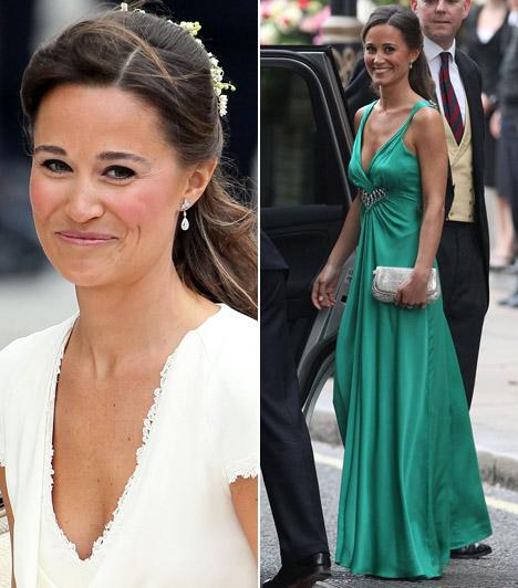 Bájos koszorúslány                         Nővére, Kate Middleton 2011. április 29-én ment feleségül a brit trónörököshöz, Vilmos herceghez. Pippa koszorúslányként egy egyszerű szabású fehér Alice Temperley-ruhát viselt, az esküvőt követő fogadásra pedig egy földig érő, csodaszép zöld ruhát választott, ugyanattól a tervezőnőtől.                         Kapcsolódó képgaléria:                         Pippa Middleton, a hercegi pár bájos nyoszolyólánya »