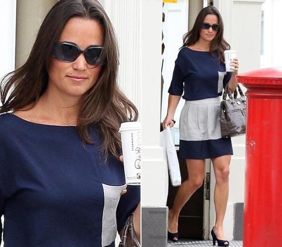 A királykék és a tengerészkék a Middleton-lányok egyik kedvenc színe, Pippa se először viseli ezt a kék-fehér ruhát, már korábban is láthattuk rajta.