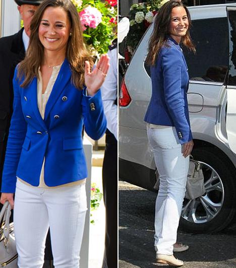 Kék nadrágkosztümben  Ezt a kétsoros, kék Zara blézert a fehér nadrággal Pippa egy fogadáson viselte. Valószínűleg álmában se hitte volna, hogy a klasszikus tengerész-stílusnak ekkora sikere lesz.  Kapcsolódó cikk: Képeken a kedvencek! Pippa Middleton csajos ruháira vágyik a legtöbb nő »