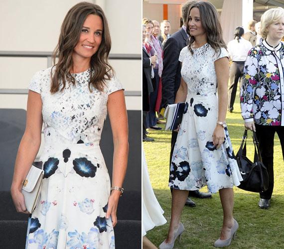 A kék virágokkal díszített nyári ruhát a felsőrészének csipke rátétje tette még különlegesebbé. Hozzá a Lamb 1887 nevű brit luxusmárka Audry elnevezésű kézitáskáját és Aruna Seth kőszürke platform cipőjét választotta.