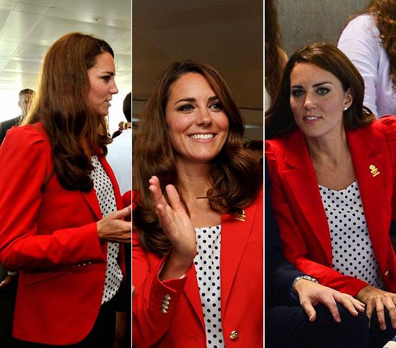 Katalin hercegnét az elmúlt két hétben gyakran lencsevégre kapták az olimpián, ahol általában sportosan jelent meg, de ez a piros blézeres, pöttyös blúzos összeállítás is remekül állt neki.
