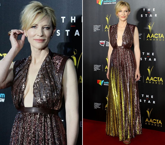 A bájos ausztrál színésznő, Cate Blanchett a 2014-es AACTA Awardson lépett a vörös szőnyegre ebben a tőle szokatlanul merész, köldökig kivágott Givenchy estélyiben.