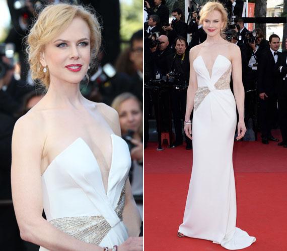 Nicole Kidman ebben a hófehér Armani estélyiben okozott nagy meglepetést a cannes-i filmfesztivál záró ceremóniáján.