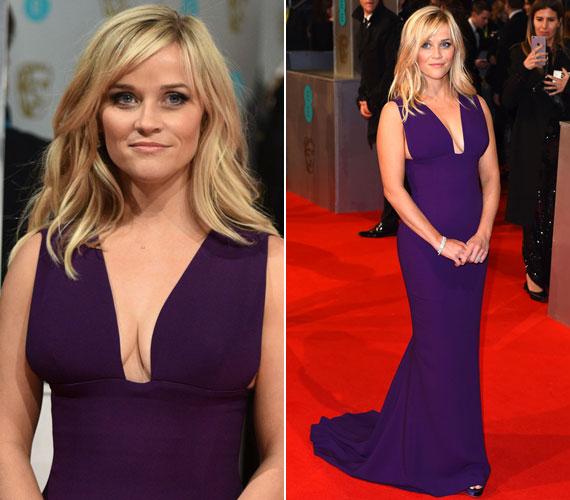 Reese Whiterspoon a 2015 BAFTA-díjkiosztón keltett nagy feltűnést Stella McCartney merészen dekoltált lila kreációjával.