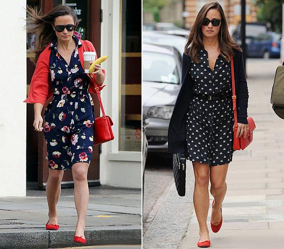 Ugyanezzel a piros táskával és cipővel korábban is láthattuk egy hasonló összeállításban - akkor szintén remekül mutatott.