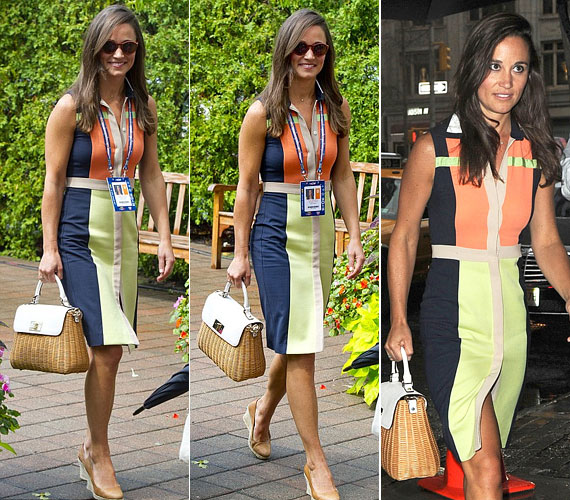A sötétkék-drapp-narancs-halványzöld színkombinációjú ruhához barna táskát és egybetalpú cipőt párosított.