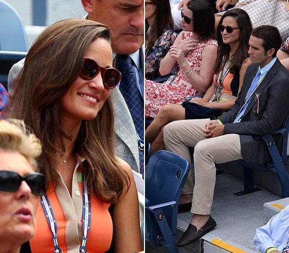 A lelátón Spencer Vegosen teniszjátékos mellett foglalt helyet: láthatóan élvezte a jóképű fiatalember társaságát.