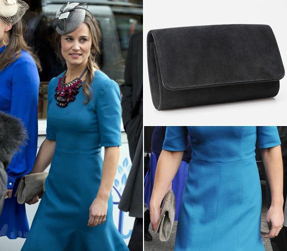 Szürke, hasított bőr retikülje szintén az Emmy Shoesnál vásárolható meg - a honlapon a Natasha nevet viselő kis táskából a karbon szín elérhető.