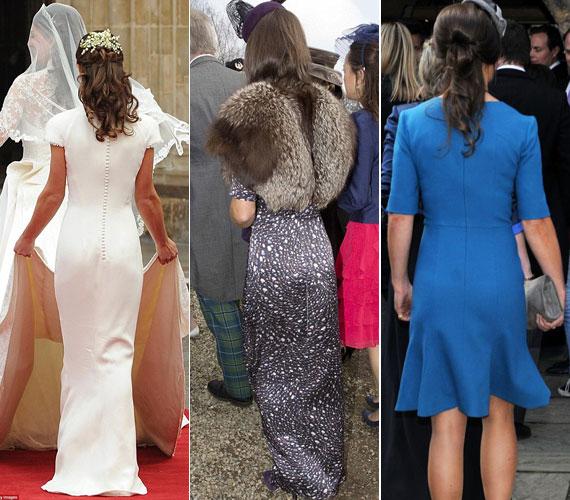 A fotósok a menyasszony helyett persze megint Pippa hátsóját fotózták. Híres testrésze még Katalin hercegné esküvőjén is a figyelem középpontjába került, csakúgy, mint két hete Aberdeenshire-ben.