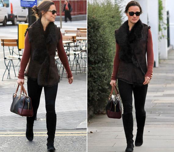 Pippa Middletont ebben a barna szettben kapták lencsevégre a lesifotósok.