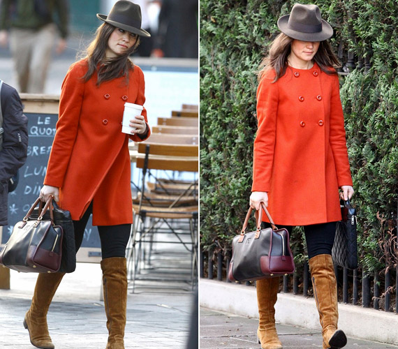 Piros kabátjában is feltűnő jelenség volt London utcáin.