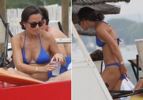 Pippa tavalyi olaszországi nyaralásán viselte ezt a csinos, kék fürdőruhát. Remekül áll neki ez a fazon, nagyon nőiessé teszi alakját.