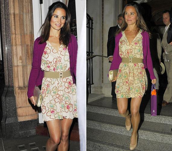 Pippa Middleton kiváló stílusérzékkel rendelkezik: könnyű és elegáns ruhájában elbűvölően nézett ki a londoni éjszakában.