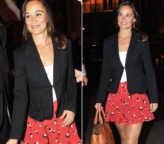 Pippa ügyesen variálja kedvenc ruhadarabjait, ezt a szoknyát már láttuk rajta idén márciusban, amikor Párizsban járt.