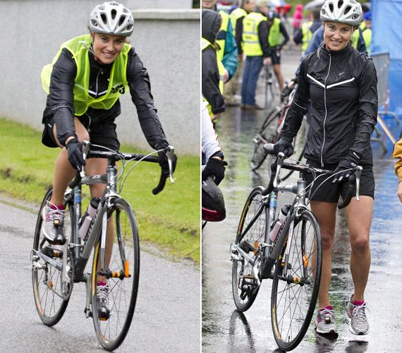 Ha nem futva, akkor két keréken vág neki az útnak, a sportos szépség a bringázásban is verhetetlen.