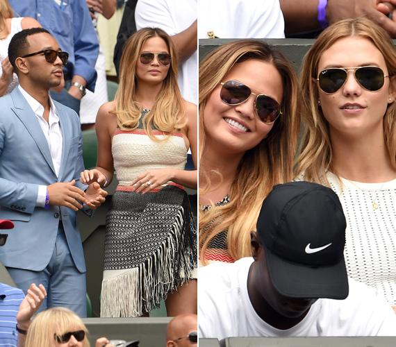Az énekes, John Legend és felesége, Chrissy Teigen hétfőn nézett ki a bajnokságra, ahol találkoztak Karlie Kloss modellel is.