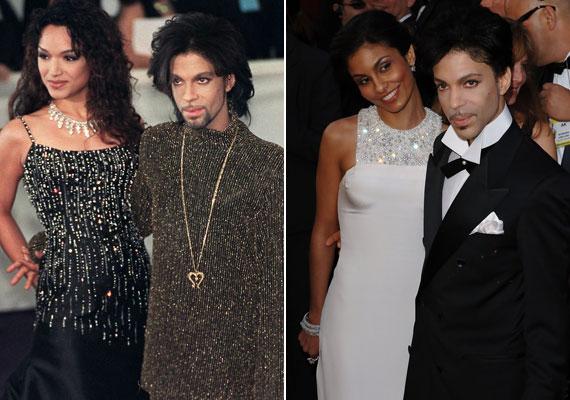 Prince különleges stílusának és személyiségének nem tudtak a nők ellenállni. Kétszer nősült, Mayte Garcia - balra - 1996-tól 2000-ig volt a felesége, akitől egy gyermeke is született, azonban kisfiuk egyhetes korában meghalt. Manuela Testolini 2006-ig volt a zenész neje.