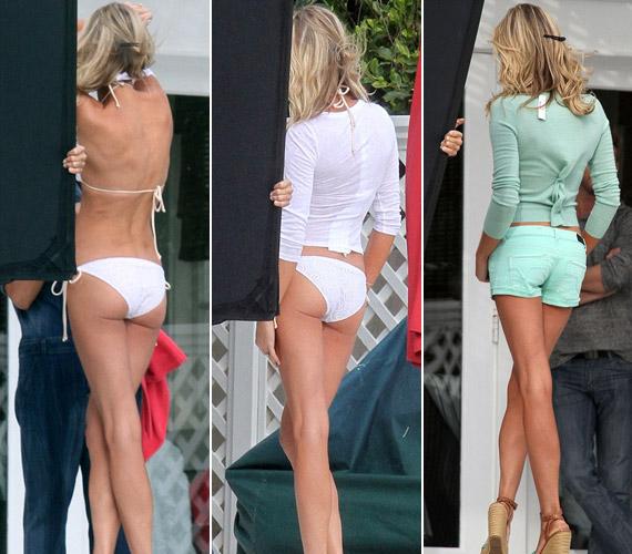 A fehér bikini és a halványzöld, falatnyi sort is remekül áll neki.