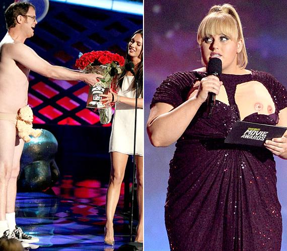 """Rainn Wilson egy szál mackóban adta át a virágokat Megan Foxnak. Rebel Wilson pedig """"melleket"""" villantott."""