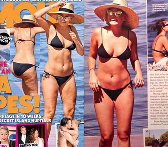 Lara Bingle ausztrál modell és televíziós műsorvezető viszont kiakadt, amikor meglátta a róla készült fotókat.