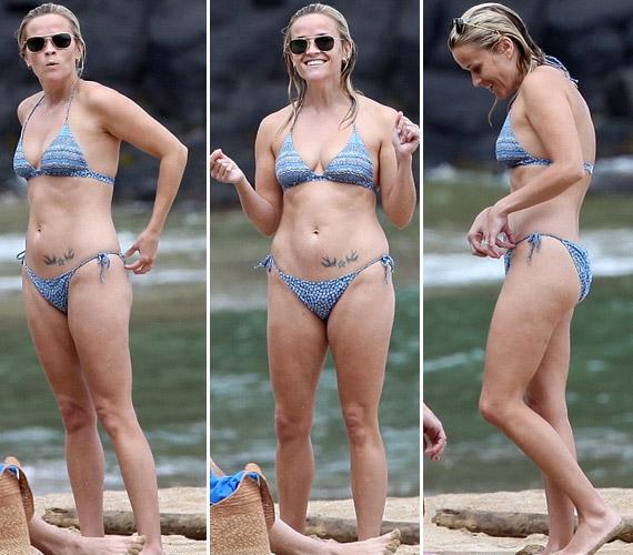 A plusz kilók ellenére, bikiniben sincs mit szégyellnie a kétgyerekes, szőke színésznőnek, akinek hasán egy három alakzatból álló tetoválás díszeleg.