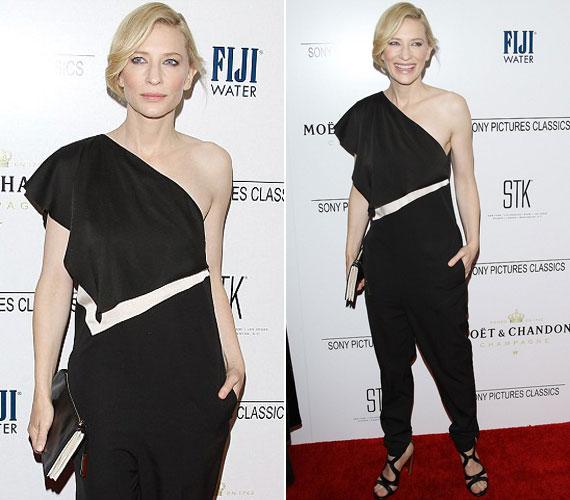 Cate Blanchett egy aszimmetrikus, fekete overálban jelent meg az STK étteremben megtartott Sony Pictures Classics Pre-Oscar dinneren.