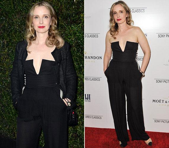 A 44 éves francia színésznő, Julie Delpy egy merészen dekoltált overált viselt a Madeo étteremben tartott Chanel and Charles Finch Pre-Oscar Dinneren és a Sony rendezvényén.