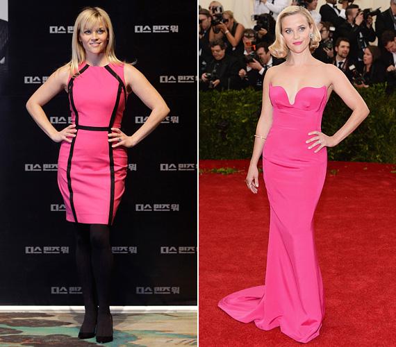 A doktor Szöszis pink sem áll tőle távol, de az által választott ruhák nem a cuki, hanem az ultranőies kategóriába tartoznak. 2012-ben a Kémes hármas sajtótájékoztatóján hódított a fekete-pink szerelésben, 2014-ben pedig a Costume Institute gálán bűvölte el a megjelenteket a pink estélyiben.