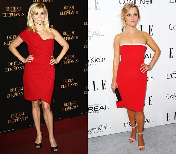 Ha egy nő fel akar tűnni, piros ruhát húz - Reese Witherspoonnak ez a szín is jól áll, meg is bámulta mindenki, amikor megjelent 2011-ben, a Vizet az elefántnak párizsi premierjén. 2013-ban, az Elle Awards-on pedig egy pánt nélküli koktélruhában vonzotta a tekinteteket.