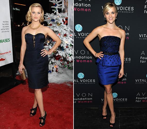 A színésznő szőke hajához jól megy a kék szín, emellett láthatóan kedveli a pént nélküli megoldásokat. 2008-ban a Négy karácsony bemutatóján viselte a sötétkék szettet az arany nyaklánccal, két évvel később pedig a Vital Voices díjkiosztó gála alkalmával mutatta meg alakját a kék összeállításban.