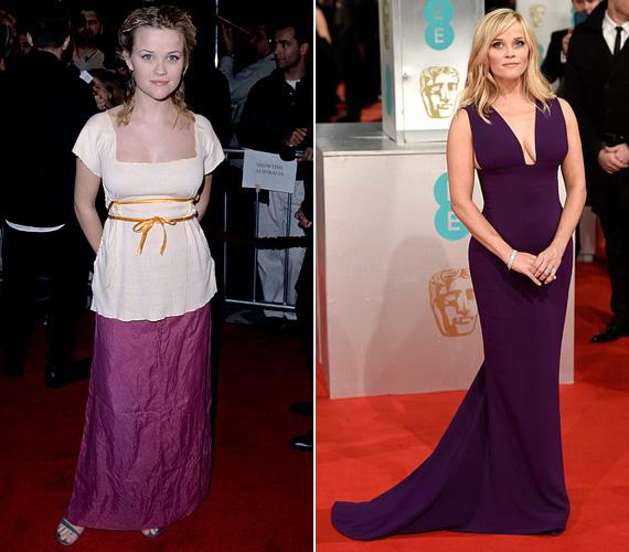 1999 és 2015 - Az elmúlt jó 15 év alatt igazi nővé érett az egykori gyereksztár, aki egykor még furcsa gyűrött selyemszoknyában jelent meg a Kegyetlen játékok premierjén, az idei BAFTA alkalmával viszont mindenkit elbűvölt mélyen dekoltált padlizsánszínű estélyi ruhájában.