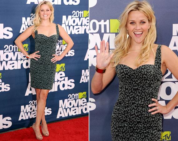 A 2011-es MTV Movie Awardson Reese ezt a szürke-fekete mintás, szűk koktélruhát viselte, mely kiemelte formás alakját.