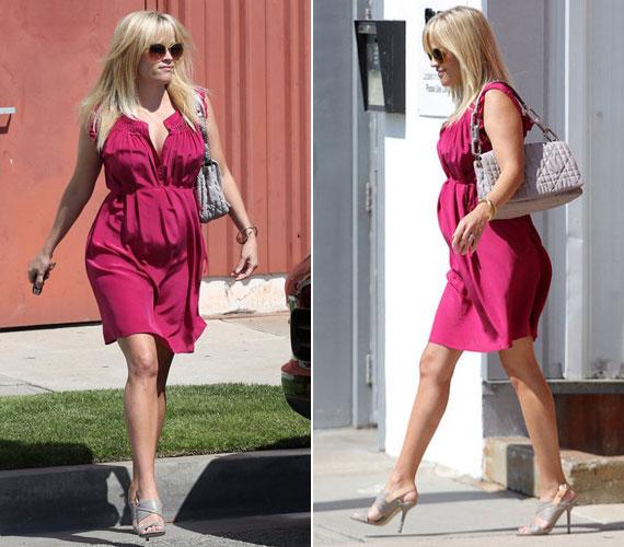A legfrissebb felvételeken divatos pink egyberuhát húzott, amelynek könnyed anyaga a szélben játszva kirajzolja gömbölyödő pocakját. Hosszabb sétára azonban már jobb, ha nem húz ilyen magas sarkú cipőt.