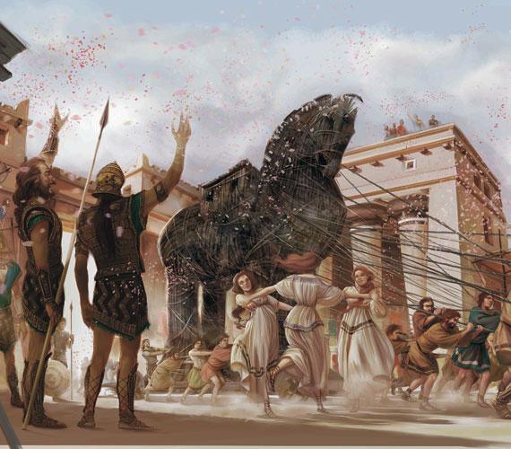 A trójai faló legendájának ábrázolása.
