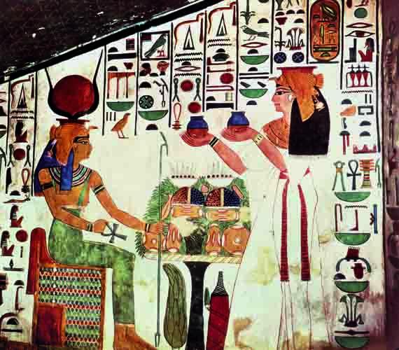 Ehnaton és Nefertiti áldozatot mutat be Atonnak egy Tell-el-Amarnában található falképen.