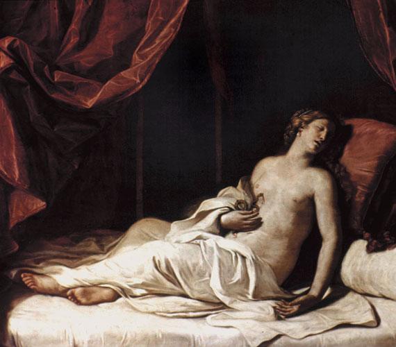 Kleopátra öngyilkosságának művészi ábrázolása.