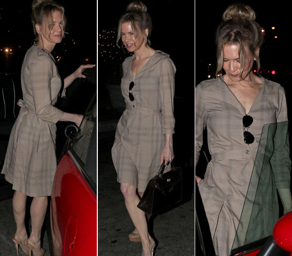 Bár a világos színek köztudottan erősítenek, Renée Zellweger extrém karcsú alakján ez a hatás sem érvényesült.