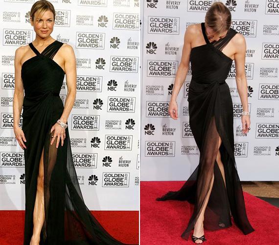 Két évvel később már ebben a fekete ruhában pózolva mutatta meg roppant karcsú alakját.