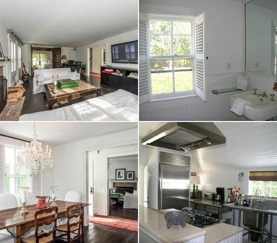 A hamptoni stílusban épült házban három hálószoba található, a rusztikus bútorok mellett minden kényelemmel felszereltek a helyiségek. A nappaliban egy hatalmas tévé függ a falon, a konyhában pedig a legmodernebb berendezések találhatók.