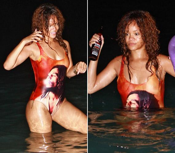 Az éjszakai fürdőzéssel egybekötött vakáción a sörösüveg is előkerült, látszik, hogy Rihanna aztán érti a módját a bulizásnak.