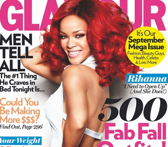 Rihanna a címlapon még bolondos fruskaként, csillogó forrónadrágban és pántos top mosolyog, a belső fotókon viszont már más arcát mutatja.
