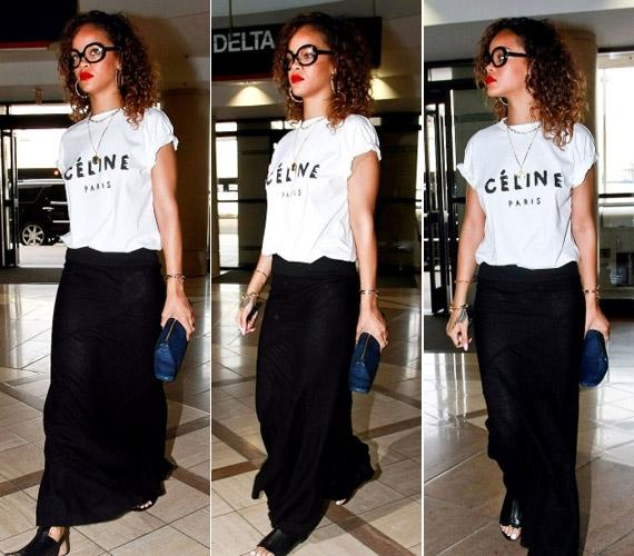 Rihanna talán nem volt elégedett magával, ugyanis megpróbálta kerülni az emberek tekintetét és a fotósok lencséit is.