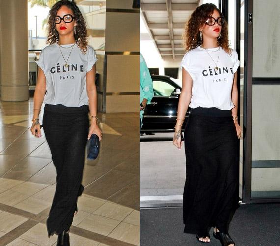 Rihanna bő ruhákkal takarta el magát a Los Angeles-i LAX reptéren.