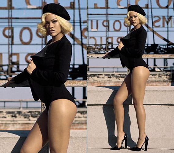 Bár nem az a tipikus modell alkat, az énekesnő bátran vesz fel falatnyi sortokat és szoknyákat, ezúttal egy fürdőruhára emlékeztető, szexi fekete szettben fotózták.