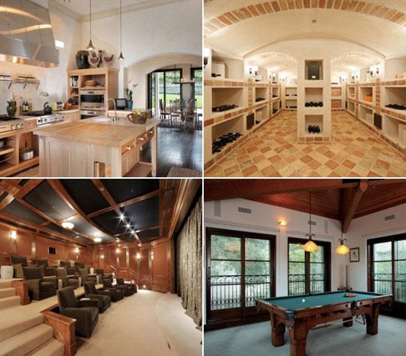 Jól felszerelt konyha, borospince, könyvtár, biliárdszoba, de még vetítésekre is használható színházterem is helyet kapott a villában.