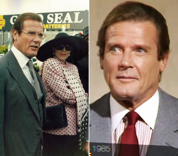 Így festett Roger Moore a nyolcvanas években. A jobb oldali kép 1985-ben készült, amikor egy esti show-ban adott interjút. A bal oldali pedig egy 1989-es lesifotó. Ebben az évtizedben szerepelt A rózsaszín párduc átkában, a Szigorúan bizalmasban és a Halálvágtában.